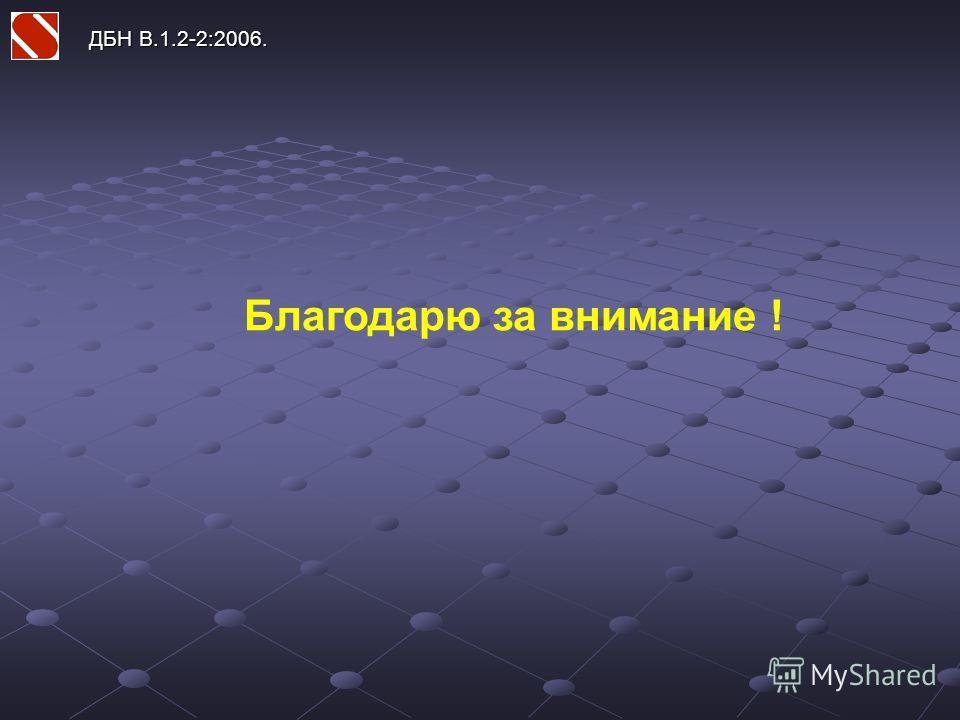ДБН В.1.2-2:2006. Благодарю за внимание !