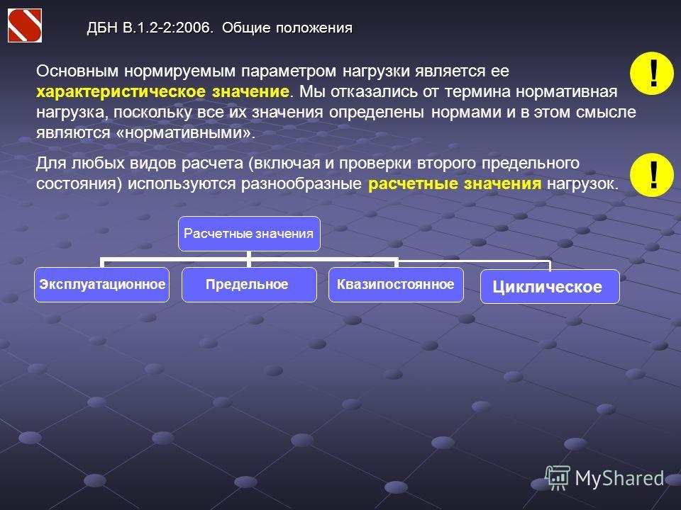ДБН В.1.2-2:2006. Общие положения Основным нормируемым параметром нагрузки является ее характеристическое значение. Мы отказались от термина нормативная нагрузка, поскольку все их значения определены нормами и в этом смысле являются «нормативными». Д