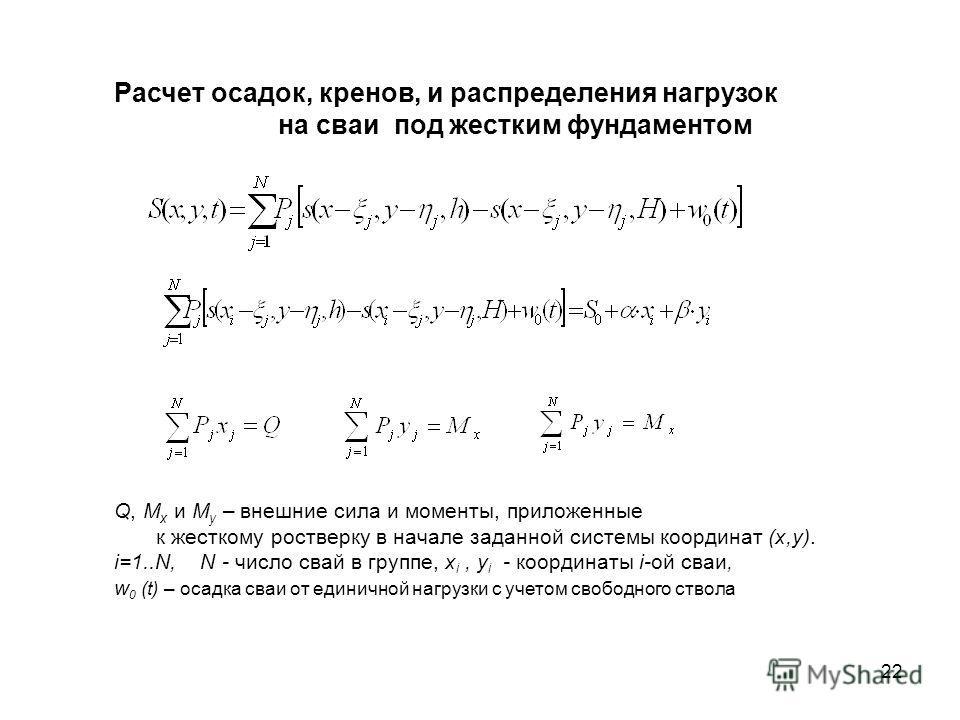 Q, M x и M y – внешние сила и моменты, приложенные к жесткому ростверку в начале заданной системы координат (x,y). i=1..N, N - число свай в группе, x i, y i - координаты i-oй сваи, w 0 (t) – осадка сваи от единичной нагрузки с учетом свободного ствол