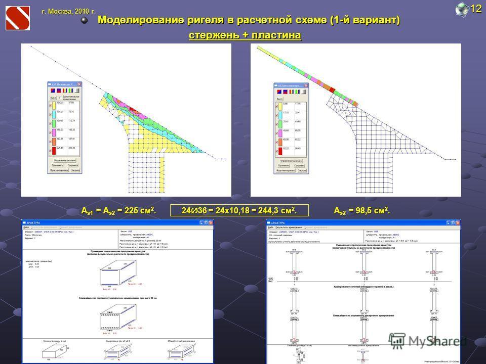 Моделирование ригеля в расчетной схеме (1-й вариант) стержень + пластина 12 г. Москва, 2010 г. A s1 = A s2 = 225 cм 2. A s2 = 98,5 cм 2. 24 36 = 24х10,18 = 244,3 cм 2.