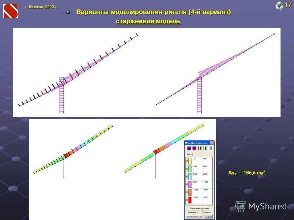 Варианты моделирования ригеля (4-й вариант) стержневая модель 17 г. Москва, 2010 г. As 2 = 165,5 cм 2.