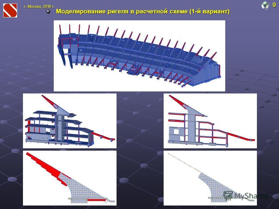 Моделирование ригеля в расчетной схеме (1-й вариант) 9 г. Москва, 2010 г.