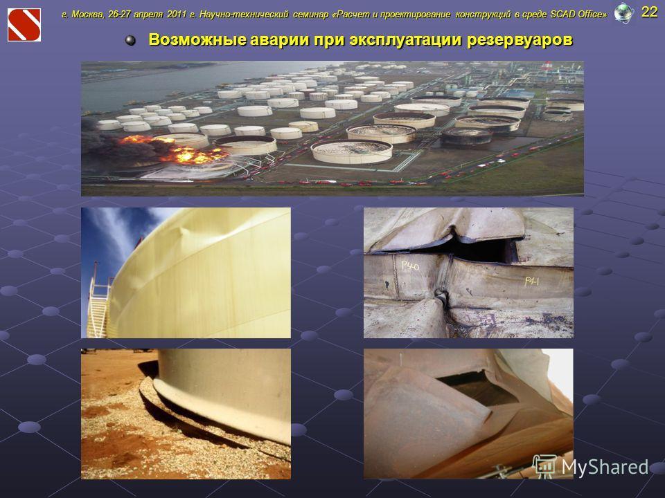 Возможные аварии при эксплуатации резервуаров г. Москва, 26-27 апреля 2011 г. Научно-технический семинар «Расчет и проектирование конструкций в среде SCAD Office» 22