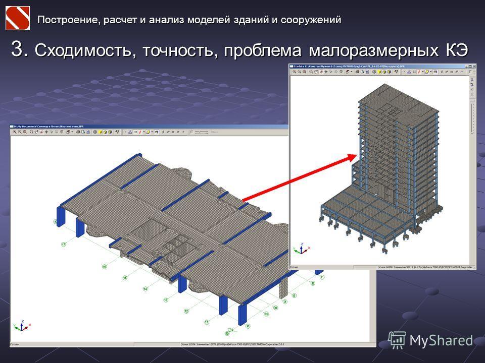 Построение, расчет и анализ моделей зданий и сооружений 3. Сходимость, точность, проблема малоразмерных КЭ