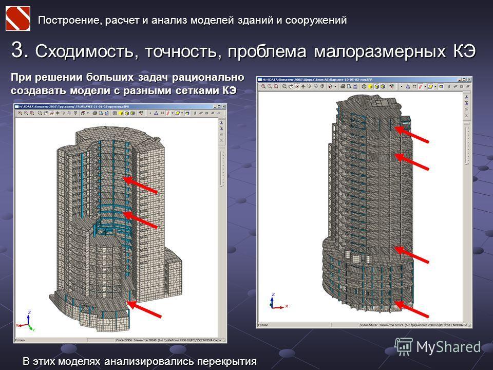 Построение, расчет и анализ моделей зданий и сооружений 3. Сходимость, точность, проблема малоразмерных КЭ При решении больших задач рационально создавать модели с разными сетками КЭ В этих моделях анализировались перекрытия