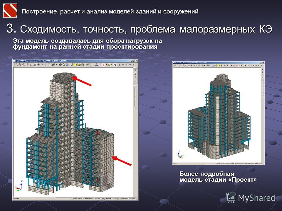 Построение, расчет и анализ моделей зданий и сооружений 3. Сходимость, точность, проблема малоразмерных КЭ Эта модель создавалась для сбора нагрузок на фундамент на ранней стадии проектирования Более подробная модель стадии «Проект»