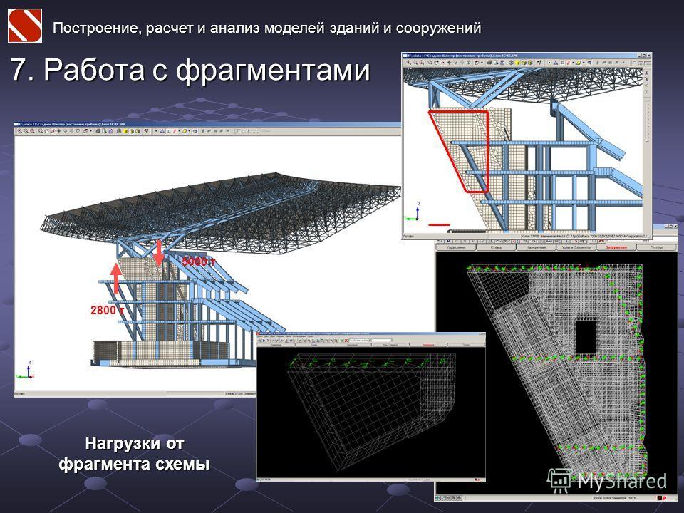 Построение, расчет и анализ моделей зданий и сооружений 7. Работа с фрагментами Нагрузки от фрагмента схемы 2800 т 5000 т