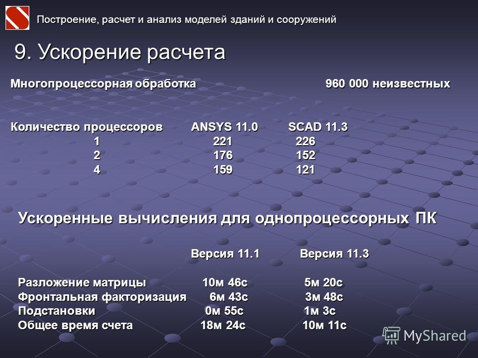 Построение, расчет и анализ моделей зданий и сооружений 9. Ускорение расчета Многопроцессорная обработка 960 000 неизвестных Количество процессоров ANSYS 11.0 SCAD 11.3 1 221 226 1 221 226 2 176 152 2 176 152 4 159 121 4 159 121 Ускоренные вычисления