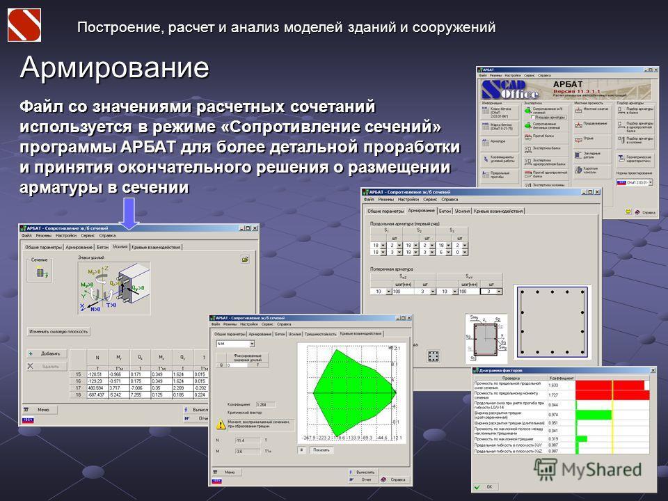 Армирование Файл со значениями расчетных сочетаний используется в режиме «Сопротивление сечений» программы АРБАТ для более детальной проработки и принятия окончательного решения о размещении арматуры в сечении Построение, расчет и анализ моделей здан
