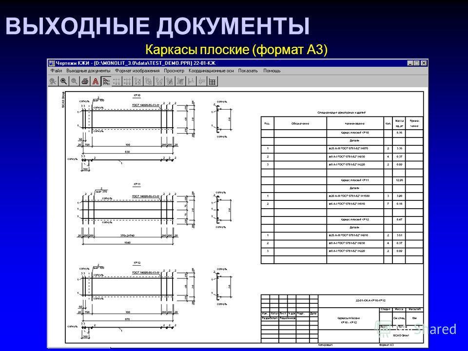 ВЫХОДНЫЕ ДОКУМЕНТЫ Каркасы плоские (формат А3)