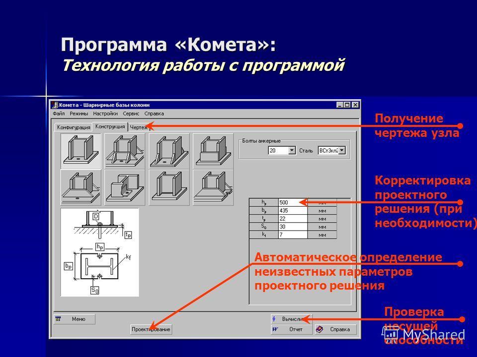 Программа «Комета»: Технология работы с программой Корректировка проектного решения (при необходимости) Проверка несущей способности Получение чертежа узла Автоматическое определение неизвестных параметров проектного решения
