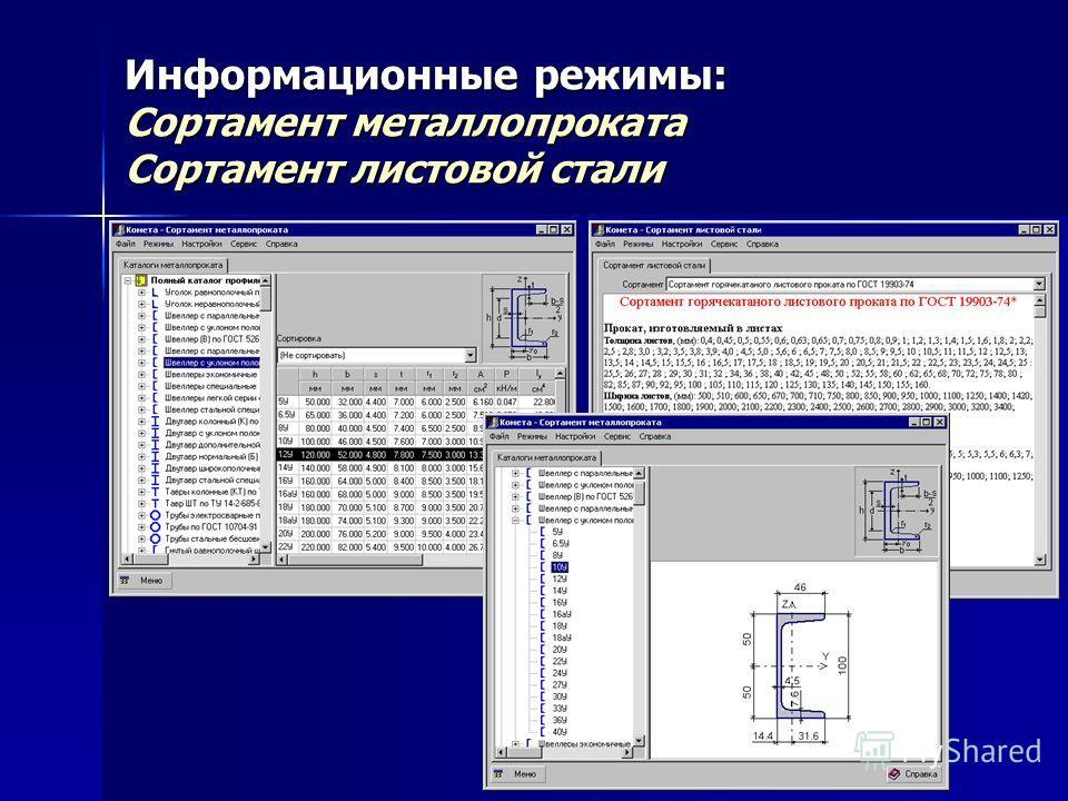 Информационные режимы: Сортамент металлопроката Сортамент листовой стали
