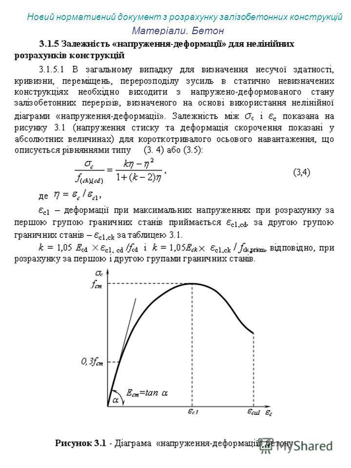 Новий нормативний документ з розрахунку залізобетонних конструкцій Матеріали. Бетон