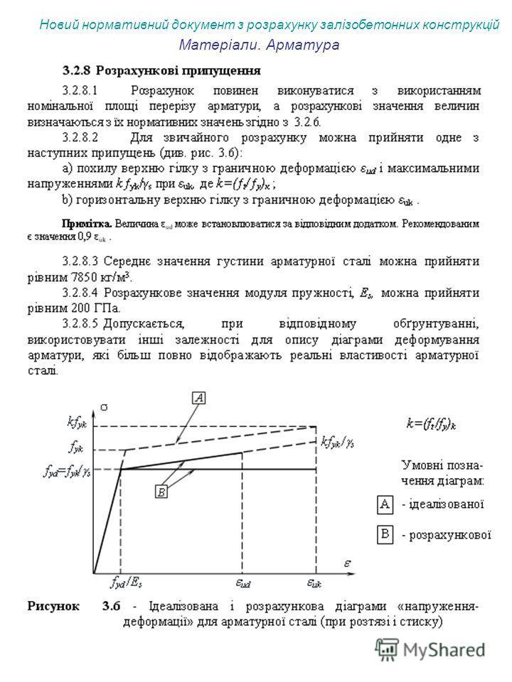 Новий нормативний документ з розрахунку залізобетонних конструкцій Матеріали. Арматура
