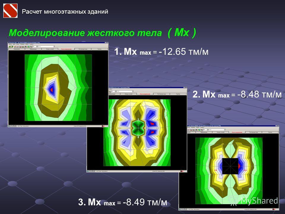 Моделирование жесткого тела ( Mx ) Расчет многоэтажных зданий 1. Mx max = -12.65 тм/м 2. Mx max = -8.48 тм/м 3. Mx max = -8.49 тм/м