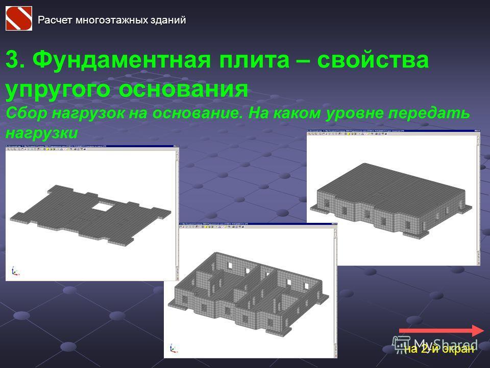Расчет многоэтажных зданий 3. Фундаментная плита – свойства упругого основания Сбор нагрузок на основание. На каком уровне передать нагрузки на 2-й экран