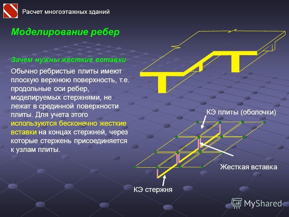 Расчет многоэтажных зданий Моделирование ребер Обычно ребристые плиты имеют плоскую верхнюю поверхность, т.е. продольные оси ребер, моделируемых стержнями, не лежат в срединной поверхности плиты. Для учета этого используются бесконечно жесткие вставк
