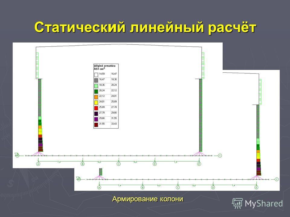 Армирование колони Cтатическ и й линейный расчёт