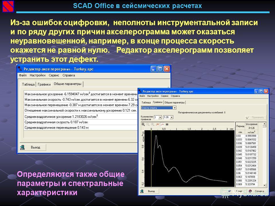 SCAD Office в сейсмических расчетах Из-за ошибок оцифровки, неполноты инструментальной записи и по ряду других причин акселерограмма может оказаться неуравновешенной, например, в конце процесса скорость окажется не равной нулю. Редактор акселерограмм