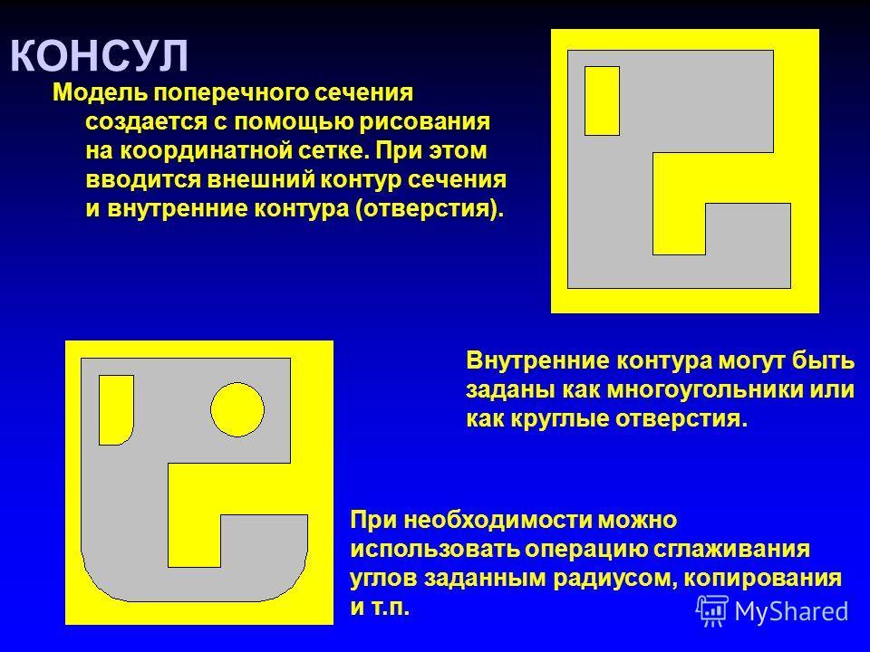 Модель поперечного сечения создается с помощью рисования на координатной сетке. При этом вводится внешний контур сечения и внутренние контура (отверстия). КОНСУЛ Внутренние контура могут быть заданы как многоугольники или как круглые отверстия. При н