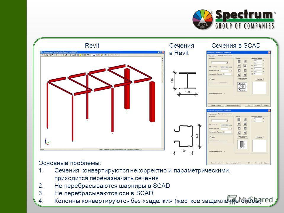 RevitСечения в SCADСечения в Revit Основные проблемы: 1.Сечения конвертируются некорректно и параметрическими, приходится переназначать сечения 2.Не перебрасываются шарниры в SCAD 3.Не перебрасываются оси в SCAD 4.Колонны конвертируются без «заделки»