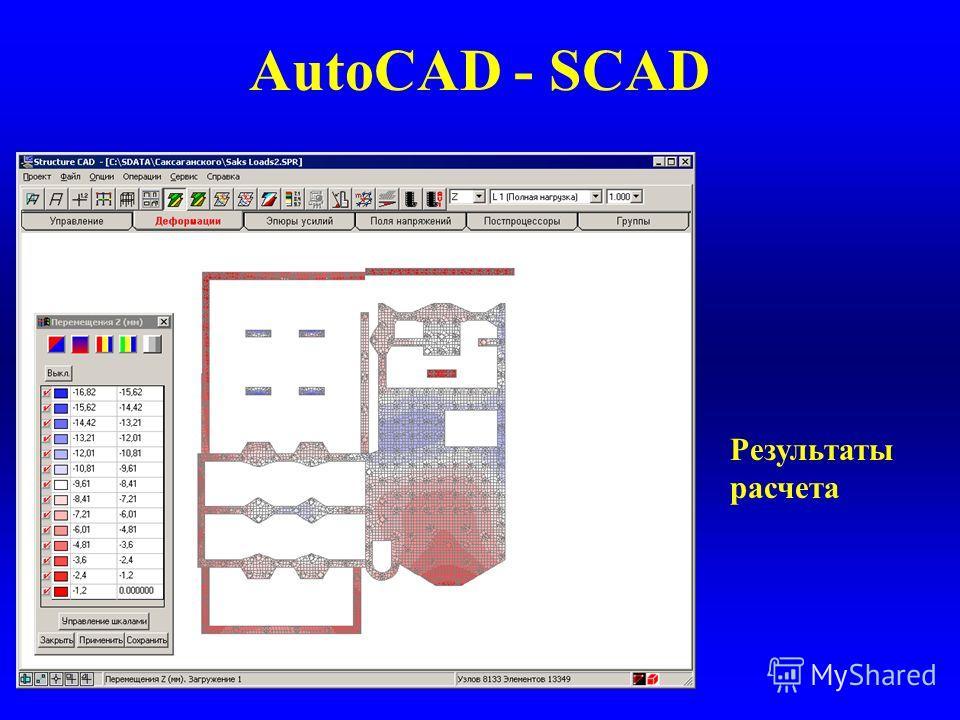 AutoCAD - SCAD Результаты расчета