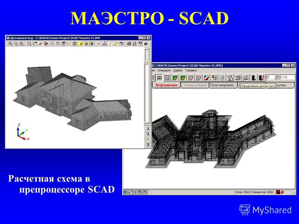 МАЭСТРО - SCAD Расчетная схема в препроцессоре SCAD