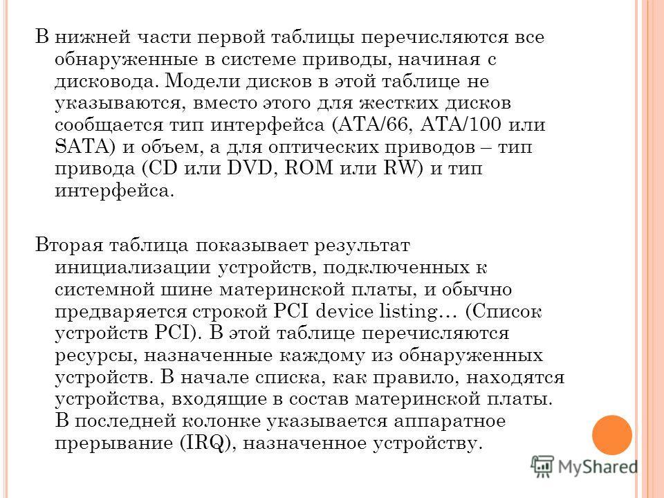 В нижней части первой таблицы перечисляются все обнаруженные в системе приводы, начиная с дисковода. Модели дисков в этой таблице не указываются, вместо этого для жестких дисков сообщается тип интерфейса (ATA/66, ATA/100 или SATA) и объем, а для опти