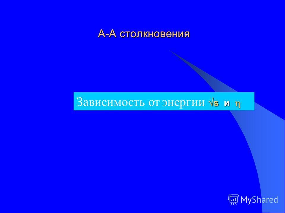 А-А столкновения А-А столкновения s и Зависимость от энергии s и