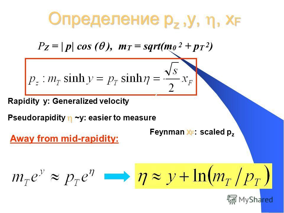 Определение p z,y,, x F Away from mid-rapidity: Rapidity y: Generalized velocity Pseudorapidity ~y: easier to measure x F Feynman x F : scaled p z P Z = | p| cos ( ), m T = sqrt(m 0 2 + p T 2 )