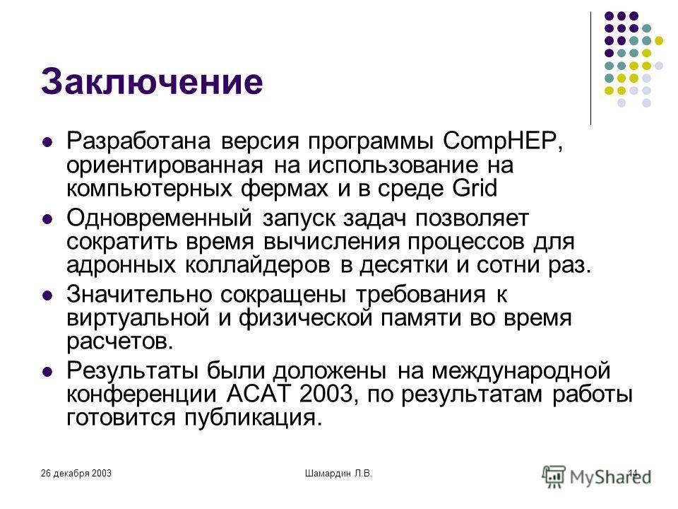26 декабря 2003Шамардин Л.В.14 Заключение Разработана версия программы CompHEP, ориентированная на использование на компьютерных фермах и в среде Grid Одновременный запуск задач позволяет сократить время вычисления процессов для адронных коллайдеров