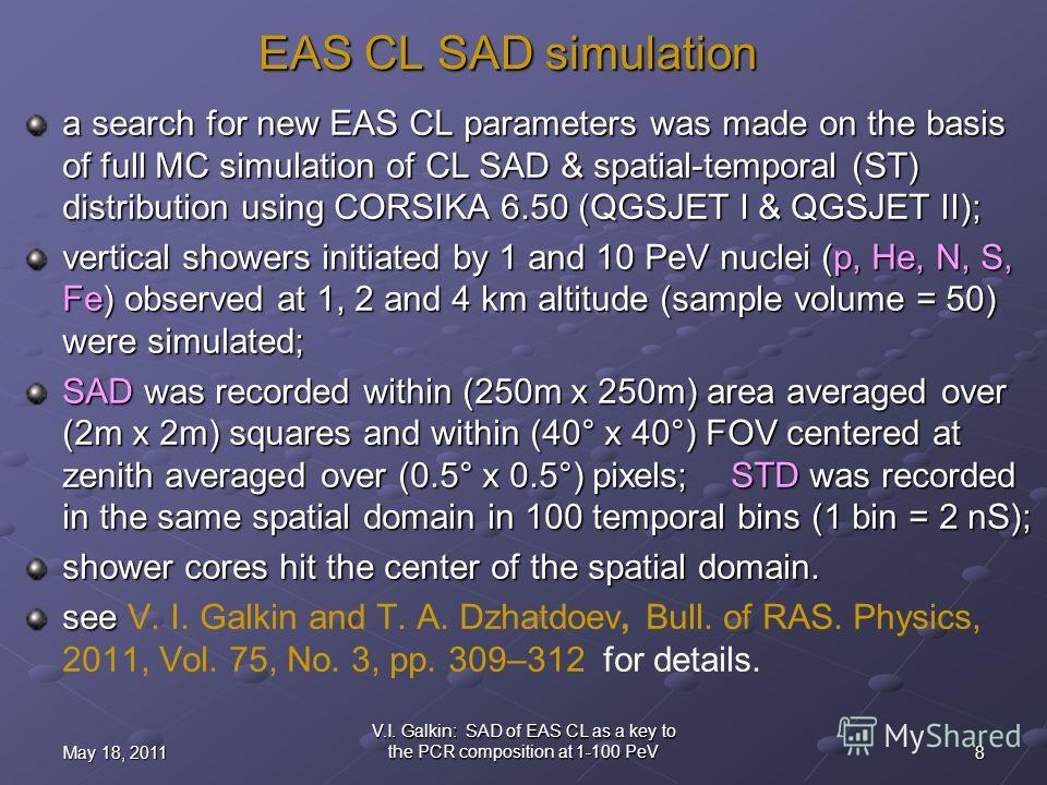 8May 18, 2011 V.I. Galkin: SAD of EAS CL as a key to the PCR composition at 1-100 PeV EAS CL SAD simulation a search for new EAS CL parameters was made on the basis of full MC simulation of CL SAD & spatial-temporal (ST) distribution using CORSIKA 6.