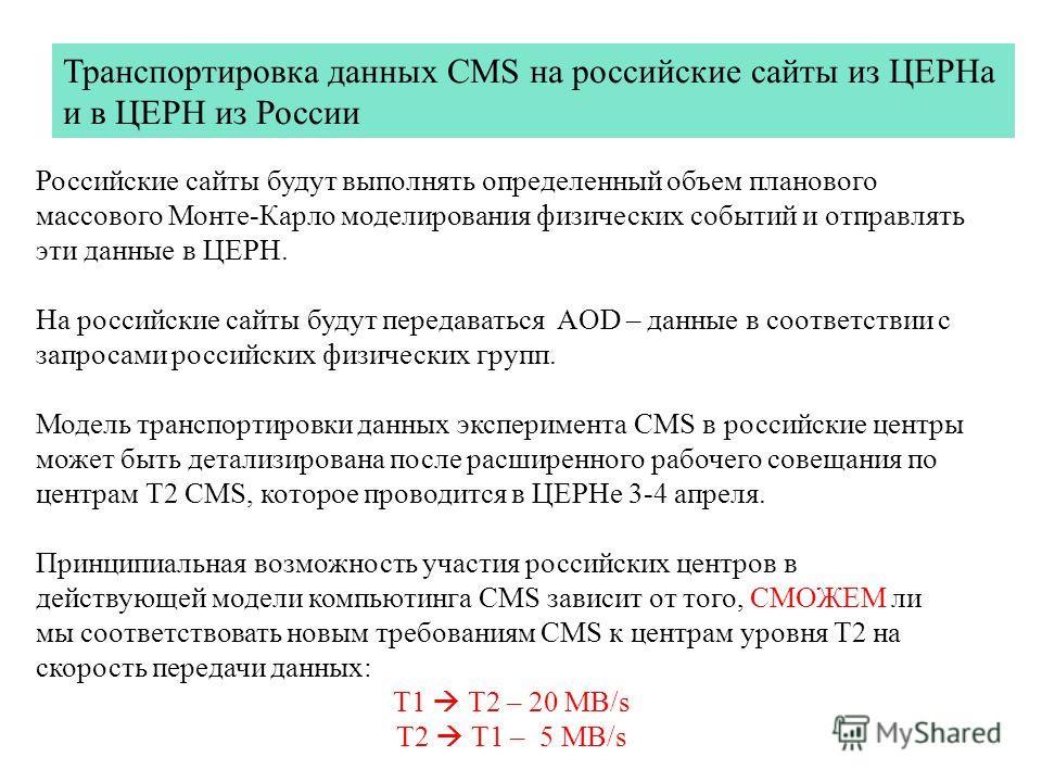 Российские сайты будут выполнять определенный объем планового массового Монте-Карло моделирования физических событий и отправлять эти данные в ЦЕРН. На российские сайты будут передаваться AOD – данные в соответствии с запросами российских физических