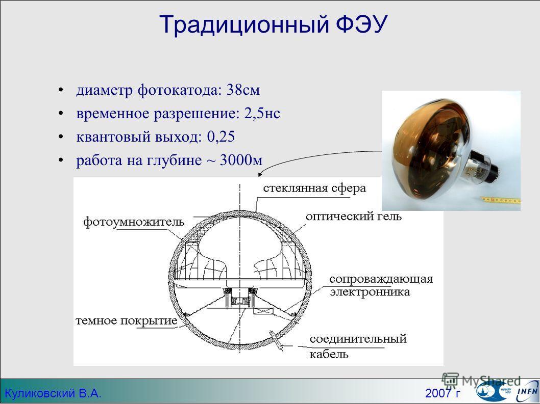 Традиционный ФЭУ диаметр фотокатода: 38см временное разрешение: 2,5нс квантовый выход: 0,25 работа на глубине ~ 3000м Куликовский В.А. 2007 г