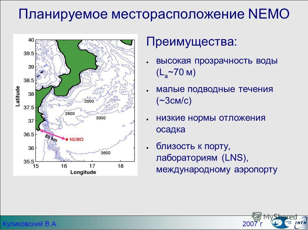 Планируемое месторасположение NEMO Преимущества: высокая прозрачность воды (L a ~70 м) малые подводные течения (~3см/c) низкие нормы отложения осадка близость к порту, лабораториям (LNS), международному аэропорту 80 km Куликовский В.А. 2007 г
