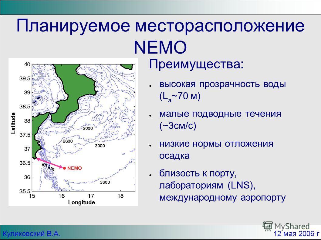 Куликовский В.А.12 мая 2006 г Планируемое месторасположение NEMO Преимущества: высокая прозрачность воды (L a ~70 м) малые подводные течения (~3см/c) низкие нормы отложения осадка близость к порту, лабораториям (LNS), международному аэропорту 80 km