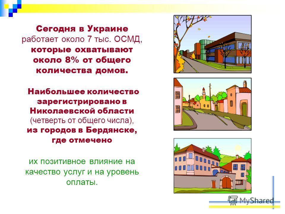 Сегодня в Украине работает около 7 тыс. ОСМД, которые охватывают около 8% от общего количества домов. Наибольшее количество зарегистрировано в Николаевской области (четверть от общего числа), из городов в Бердянске, где отмечено их позитивное влияние