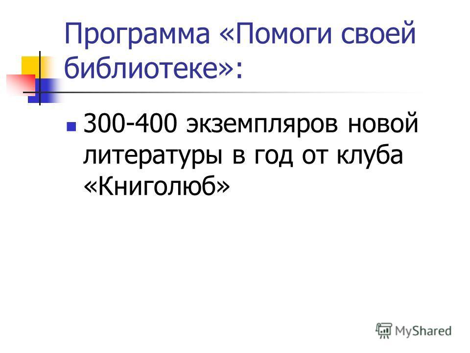 Программа «Помоги своей библиотеке»: 300-400 экземпляров новой литературы в год от клуба «Книголюб»