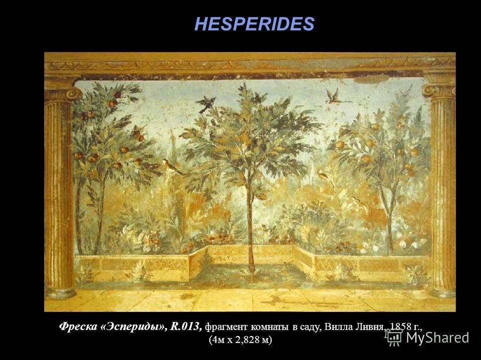 Фреска «Эспериды», R.013, фрагмент комнаты в саду, Вилла Ливия, 1858 г., (4м х 2,828 м) HESPERIDES