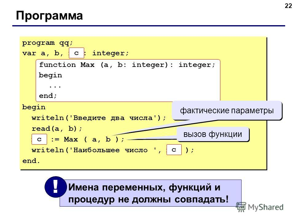 22 Программа program qq; var a, b, max: integer; begin writeln('Введите два числа'); read(a, b); max := Max ( a, b ); writeln('Наибольшее число ', max ); end. program qq; var a, b, max: integer; begin writeln('Введите два числа'); read(a, b); max :=