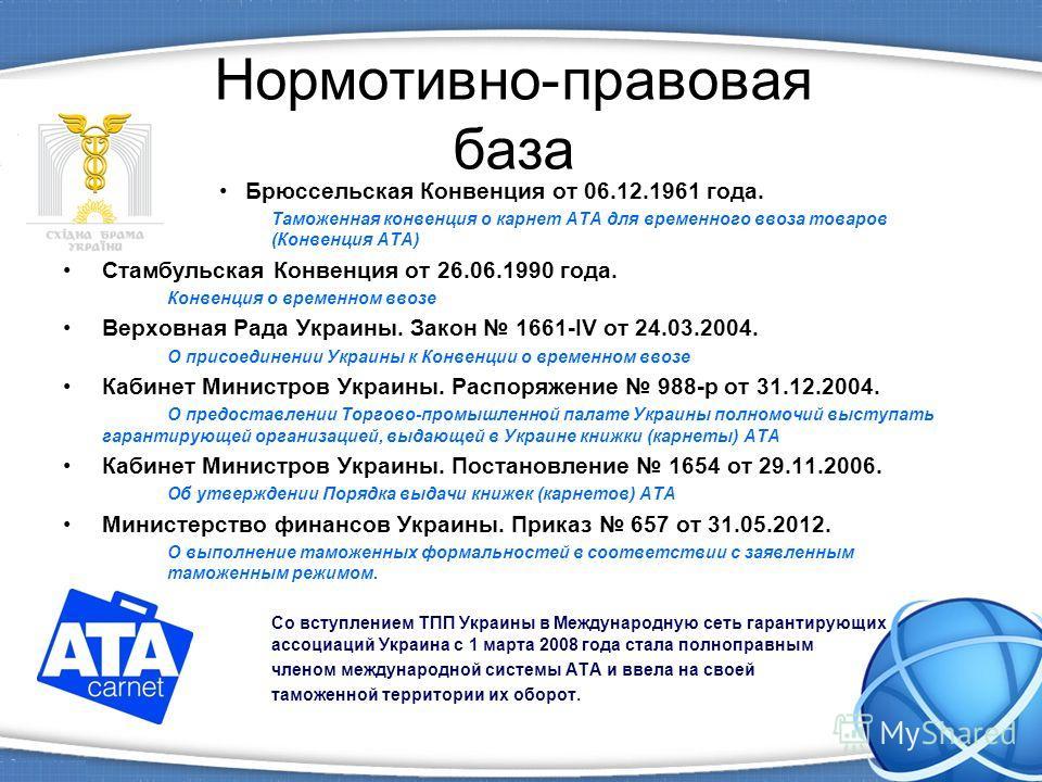 Нормотивно-правовая база Брюссельская Конвенция от 06.12.1961 года. Таможенная конвенция о карнет ATA для временного ввоза товаров (Конвенция ATA) Стамбульская Конвенция от 26.06.1990 года. Конвенция о временном ввозе Верховная Рада Украины. Закон 16
