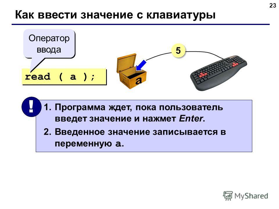 23 Как ввести значение с клавиатуры read ( a ); 1.Программа ждет, пока пользователь введет значение и нажмет Enter. 2.Введенное значение записывается в переменную a. ! Оператор ввода 5 5