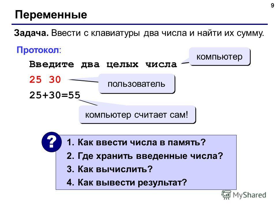 9 Переменные Задача. Ввести с клавиатуры два числа и найти их сумму. Протокол: Введите два целых числа 25 30 25+30=55 компьютер пользователь компьютер считает сам! 1.Как ввести числа в память? 2.Где хранить введенные числа? 3.Как вычислить? 4.Как выв