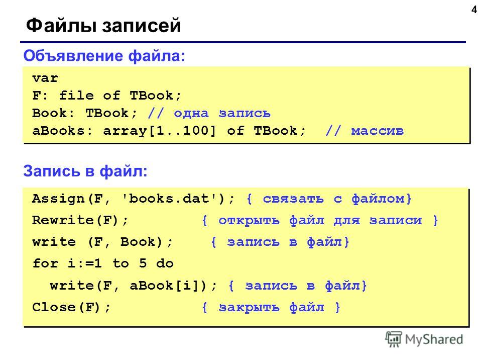 4 Файлы записей Объявление файла: var F: file of TBook; Book: TBook; // одна запись aBooks: array[1..100] of TBook; // массив var F: file of TBook; Book: TBook; // одна запись aBooks: array[1..100] of TBook; // массив Assign(F, 'books.dat'); { связат