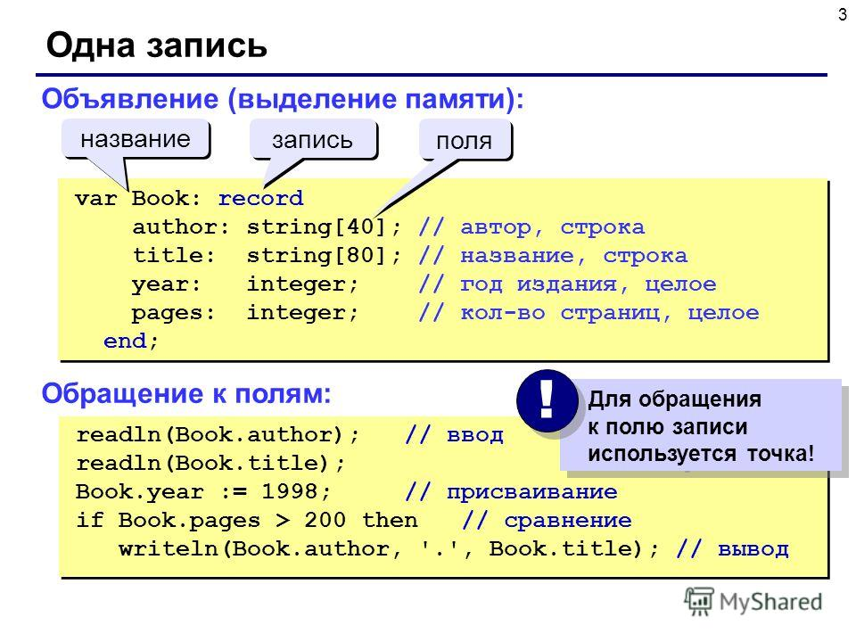 3 Одна запись readln(Book.author); // ввод readln(Book.title); Book.year := 1998; // присваивание if Book.pages > 200 then // сравнение writeln(Book.author, '.', Book.title); // вывод readln(Book.author); // ввод readln(Book.title); Book.year := 1998