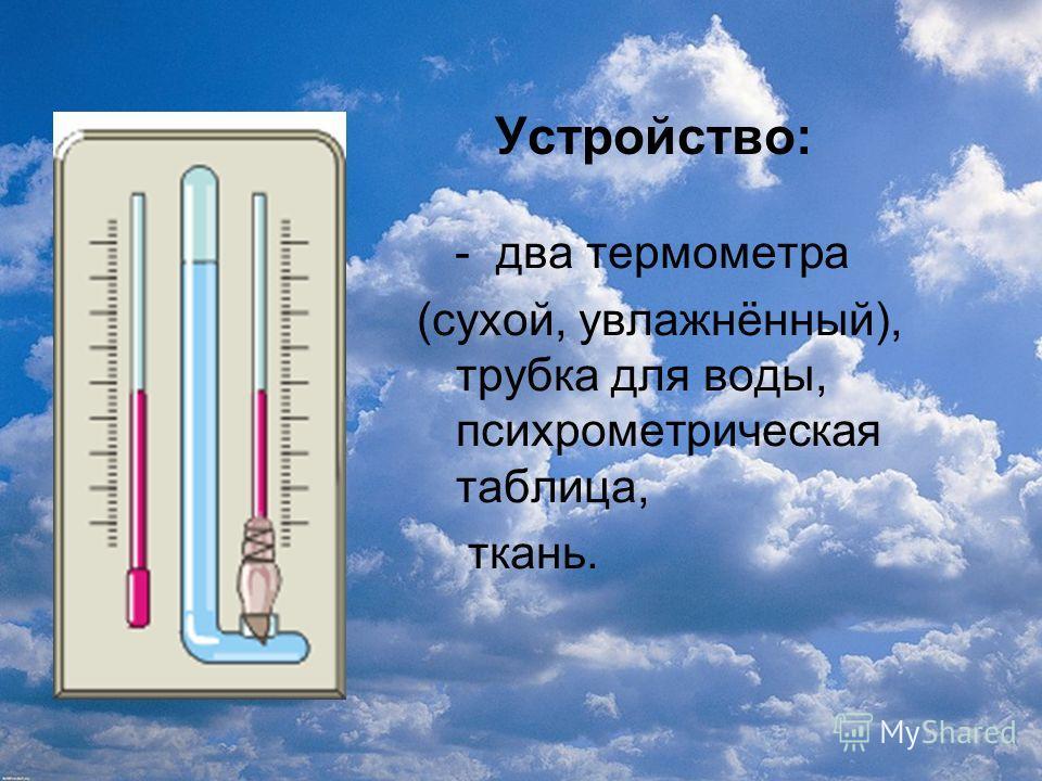 Устройство: - два термометра (сухой, увлажнённый), трубка для воды, психрометрическая таблица, ткань.