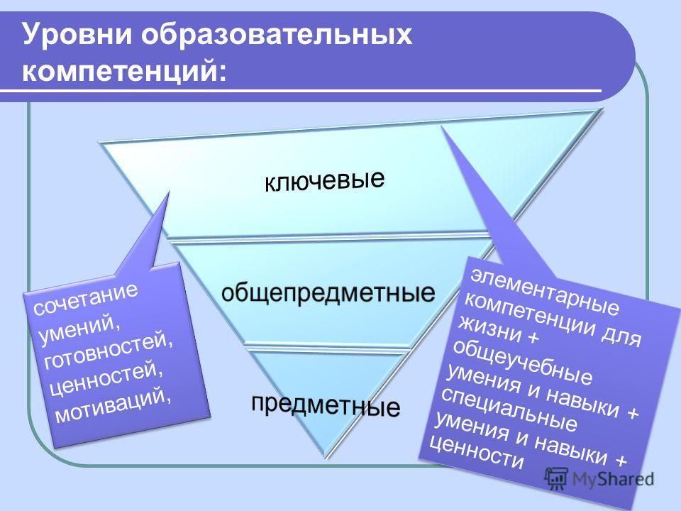 Уровни образовательных компетенций: сочетание умений, готовностей, ценностей, мотиваций, элементарные компетенции для жизни + общеучебные умения и навыки + специальные умения и навыки + ценности