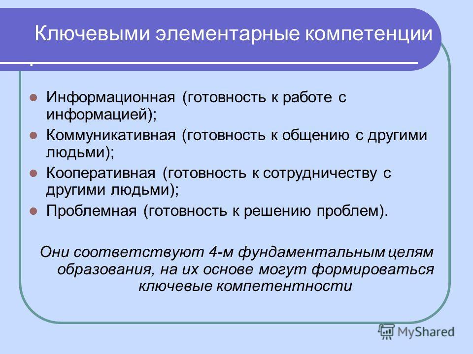 Ключевыми элементарные компетенции. Информационная (готовность к работе с информацией); Коммуникативная (готовность к общению с другими людьми); Кооперативная (готовность к сотрудничеству с другими людьми); Проблемная (готовность к решению проблем).