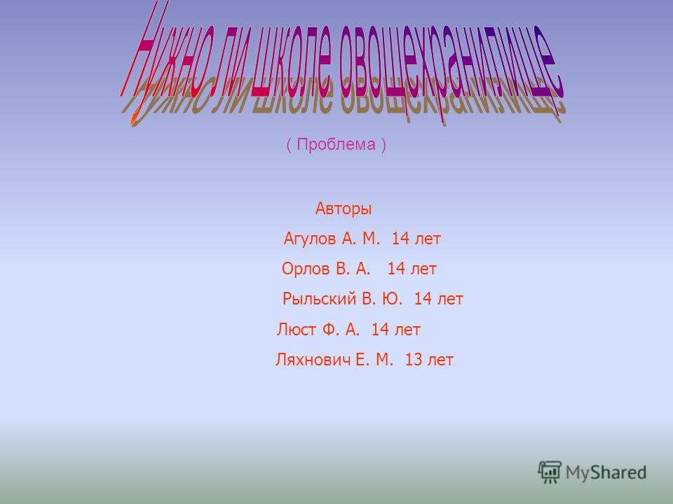 Авторы Агулов А. М. 14 лет Орлов В. А. 14 лет Рыльский В. Ю. 14 лет Люст Ф. А. 14 лет Ляхнович Е. М. 13 лет ( Проблема )