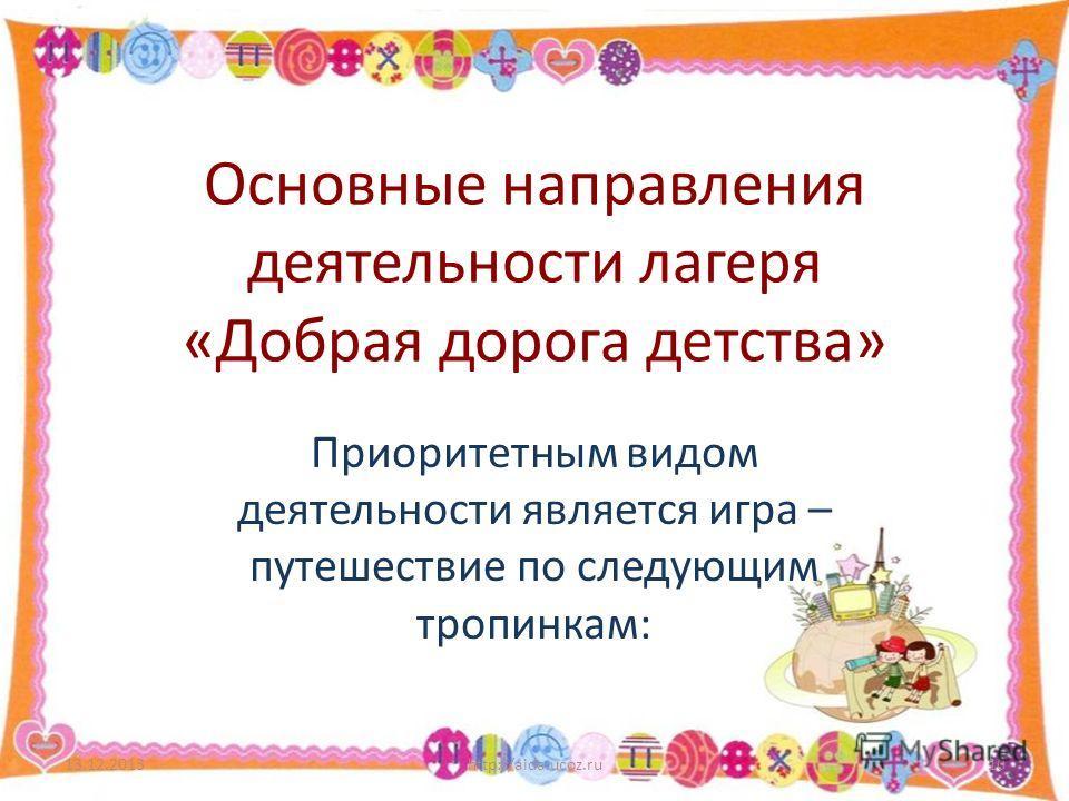 Основные направления деятельности лагеря «Добрая дорога детства» Приоритетным видом деятельности является игра – путешествие по следующим тропинкам: 13.12.2013http://aida.ucoz.ru10